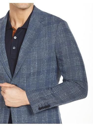 Bisse BCK19Y19305 Regular Fit 6 Drop Ekoseli Blazer Ceket Lacivert